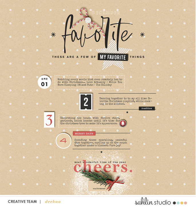 These are a few of my favorite things about Christmas using Favorite Things by Sahlin Studio