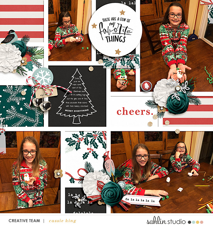 These are a few of my favorite things about Christmas digital scrapbooking Project Life layout using Favorite Things (Journal Cards) by Sahlin Studio