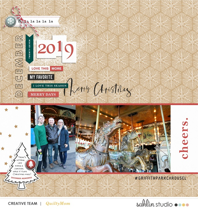 Merry Christmas digital scrapbooking layout using Favorite Things (Journal Cards) by Sahlin Studio