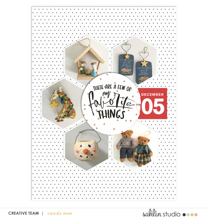 These are a few of my favorite things about Christmas - Holiday Favorites digital scrapbooking Project Life layout using Favorite Things (Journal Cards) by Sahlin Studio