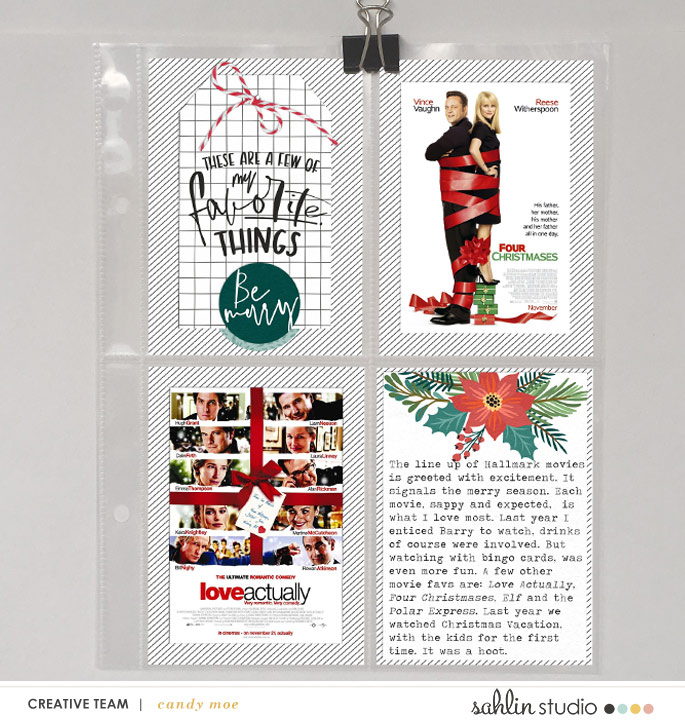 Countdown to Christmas - MOVIES using Favorite Things (Journal Cards) by Sahlin Studio