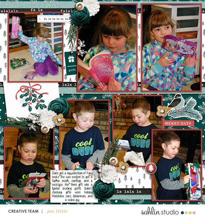 Merry Christmas Opening Gifts digital scrapbooking layout using Favorite Things (Journal Cards) by Sahlin Studio