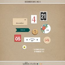 December Days No 6 Numbers by Sahlin Studio- Perfect for your December Daily, Document Your December, Project Life and Christmas albums!!