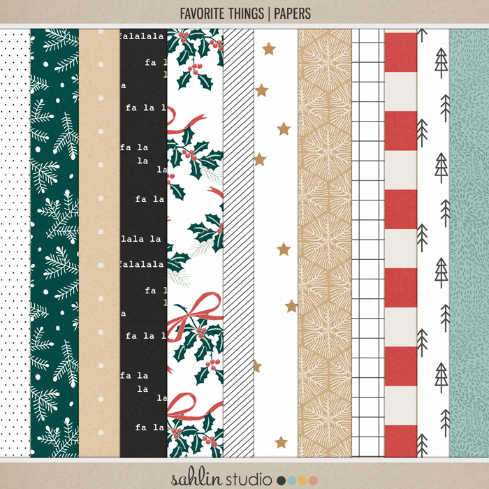 Favorite Things (Papers) by Sahlin Studio- Perfect for your December Daily, Document Your December, Project Life and Christmas albums!!