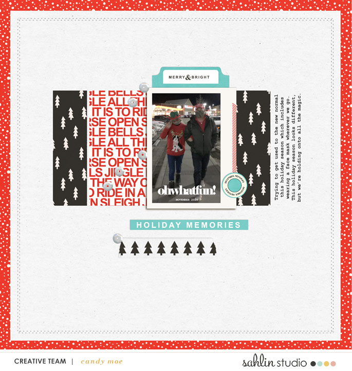 digital scrapbooking layout created by candy moe featuring December 2020 FREE Template by Sahlin Studio