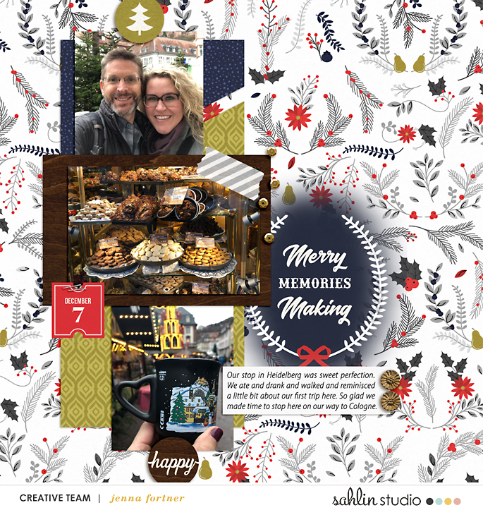 digital scrapbooking layout created by jenna featuring December by Sahlin Studio