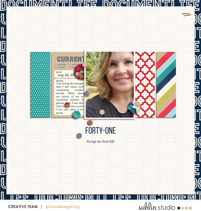 digital scrapbooking layout created by plumdumpling featuring December 2020 FREE Template by Sahlin Studio