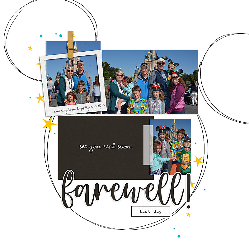 Farewell - Goodbye Disney digital scrapbooking layout using the Project Mouse (See Ya Real Soon) by Britt-ish Designs and Sahlin Studio
