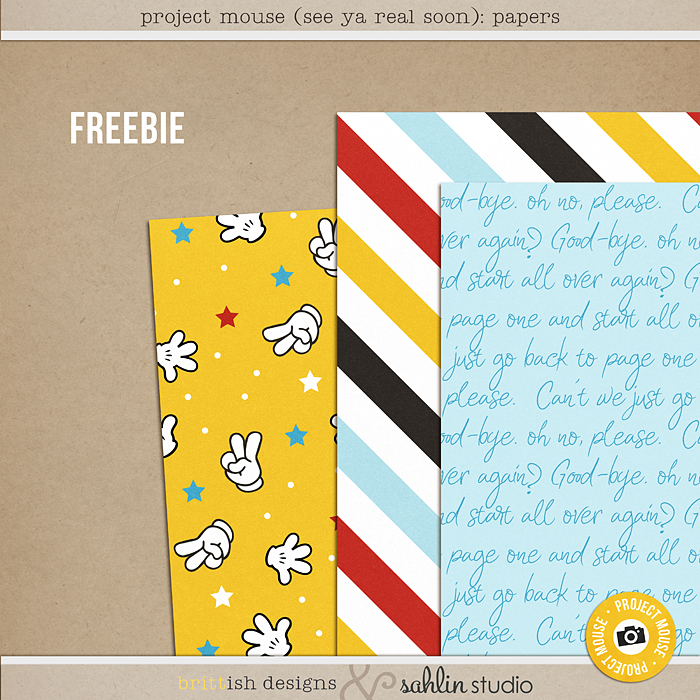 Project Mouse (See Ya Real Soon) Papers by Sahlin Studio - FREEBIE FREE Digital Scrapbook Papers