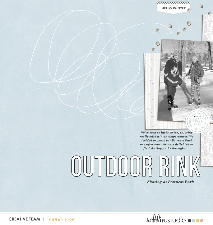 digital scrapbooking layout created by candy moe featuring February 2021 FREE Template by Sahlin Studio