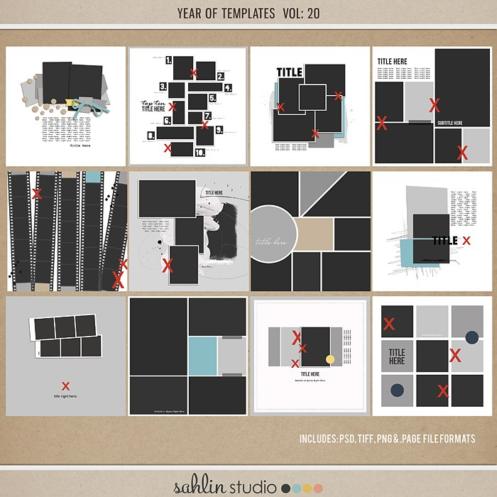 Year of Templates Vol. 20 by Sahlin Studio - Digital scrapbook templates perfect for making pages in a snap!
