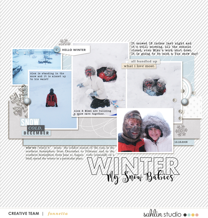 digital scrapbooking layout created by fonnetta featuring Winter Stories by Sahlin Studio