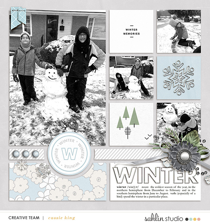 digital scrapbooking layout created by cassie king featuring Winter Stories by Sahlin Studio