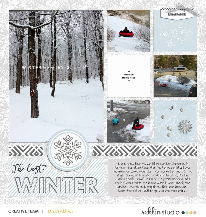 digital scrapbooking layout created by quiltymom featuring Winter Stories by Sahlin Studio