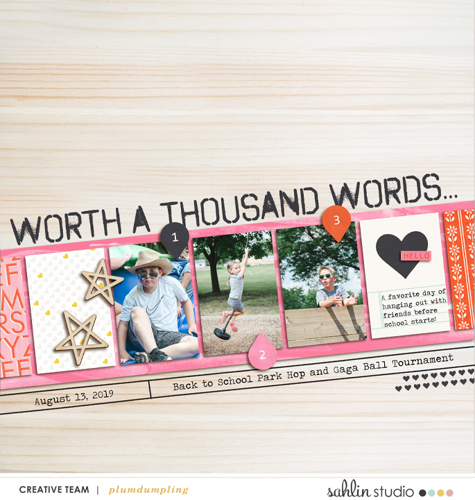 digital scrapbooking layout created by plumdumpling featuring Worth a Thousand Words by Sahlin Stuio