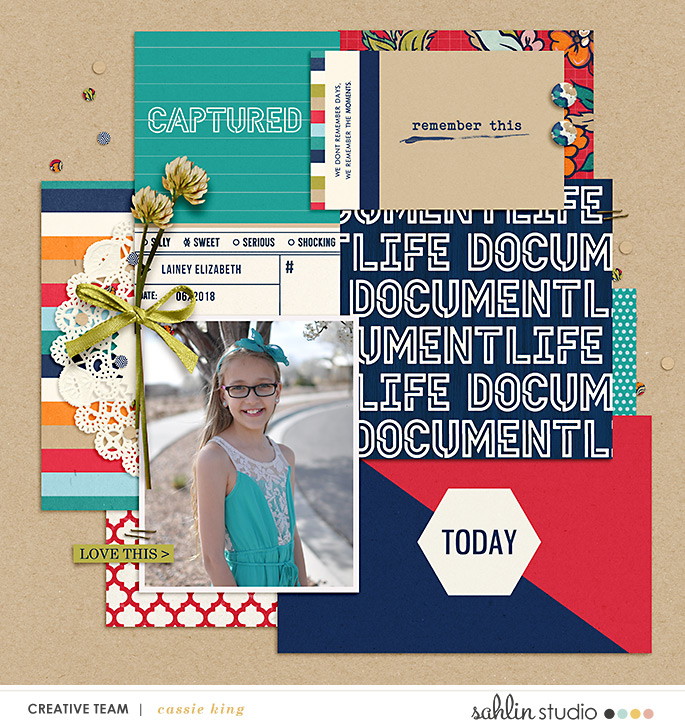 digital scrapbooking layout created by cassie king featuring April 2021 FREE Template by Sahlin Studio