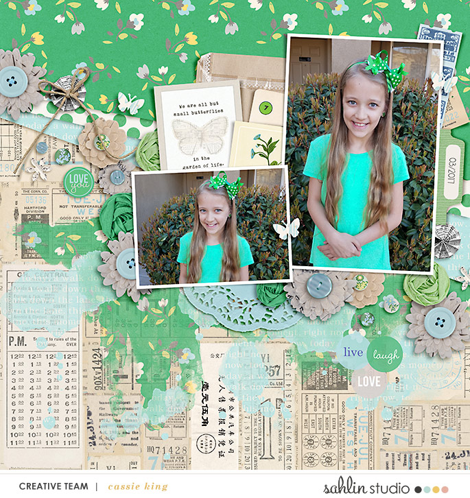 digital scrapbooking layout created by cassie king featuring Down the Lane by Sahlin Studio