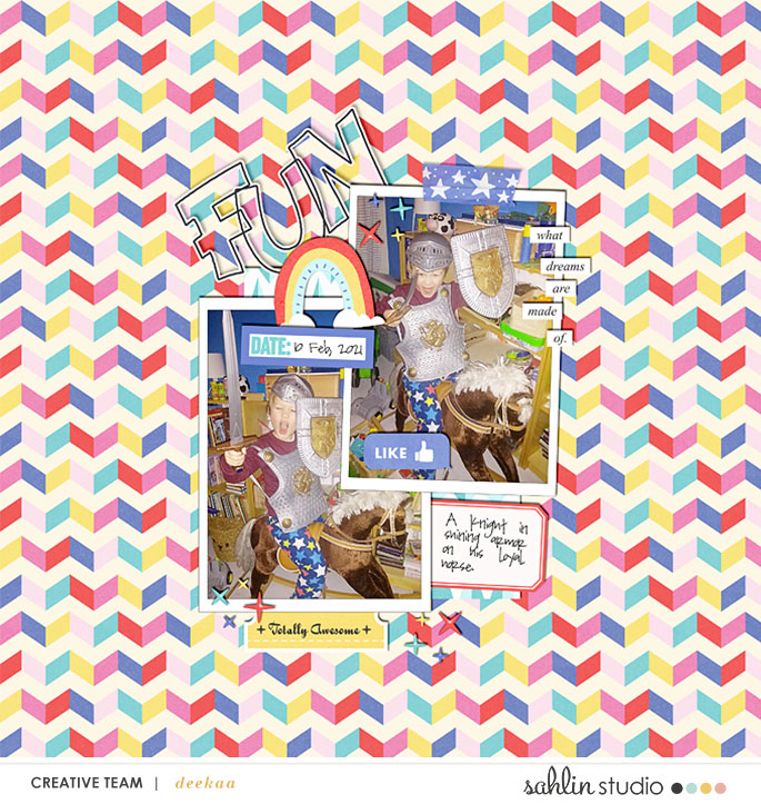 FUN Knight in Shining Armor Digital Scrapbooking Layout using Project Mouse (Pop) by Britt-ish Designs