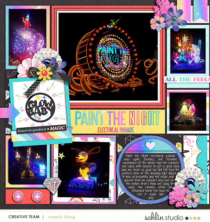 Disney Paint the Night Digital Scrapbooking Layout using Project Mouse (Pop) by Britt-ish Designs