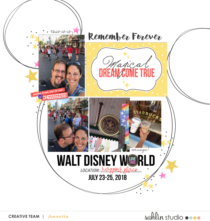 Disney Magical Dream Come True Digital Scrapbooking Layout using Project Mouse (Pop) by Britt-ish Designs