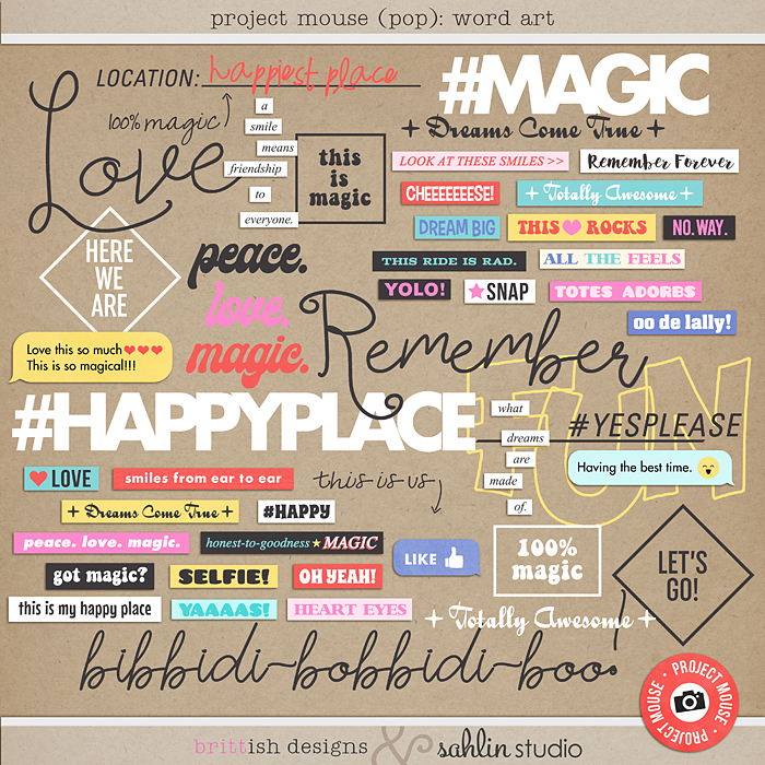 Project Mouse (POP): Word Art by Britt-ish Designs and Sahlin Studio - Perfect for documenting your Disney Project Mouse and Project Life albums!!