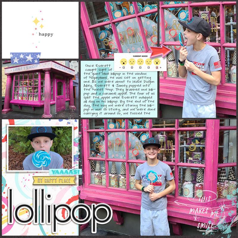 Lollipop Digital scrapbook layout using Project Mouse (Pop) Extras by Britt-ish Designs