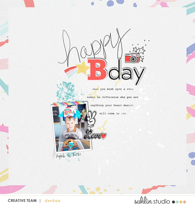 Happy Birthday Digital scrapbook layout using Project Mouse (Pop) Extras by Britt-ish Designs