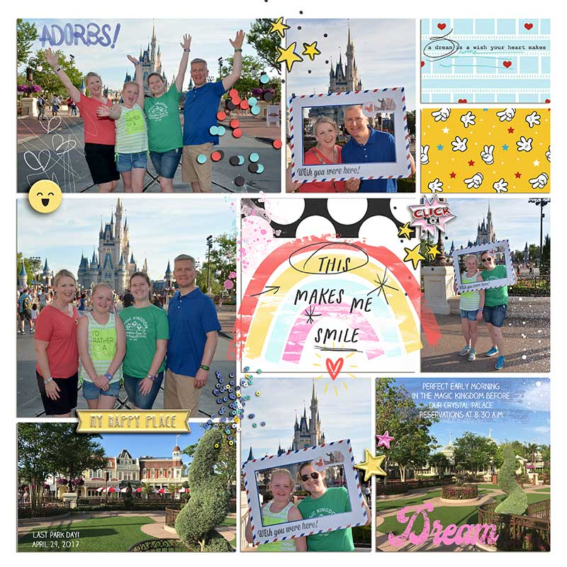 Disney Magic Kingdom scrapbook Project Life layout using Project Mouse (Pop) Extras by Britt-ish Designs