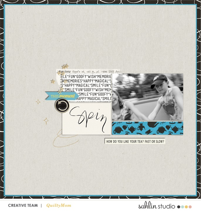 Disney Tea Cups Spin Digital scrapbook layout using Project Mouse (Pop) Extras by Britt-ish Designs
