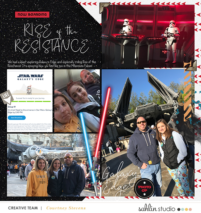 Disney Star Wars Galaxy's Edge Rise of the Resistance digital scrapbook layout using Project Mouse (Galaxy): by Sahlin Studio