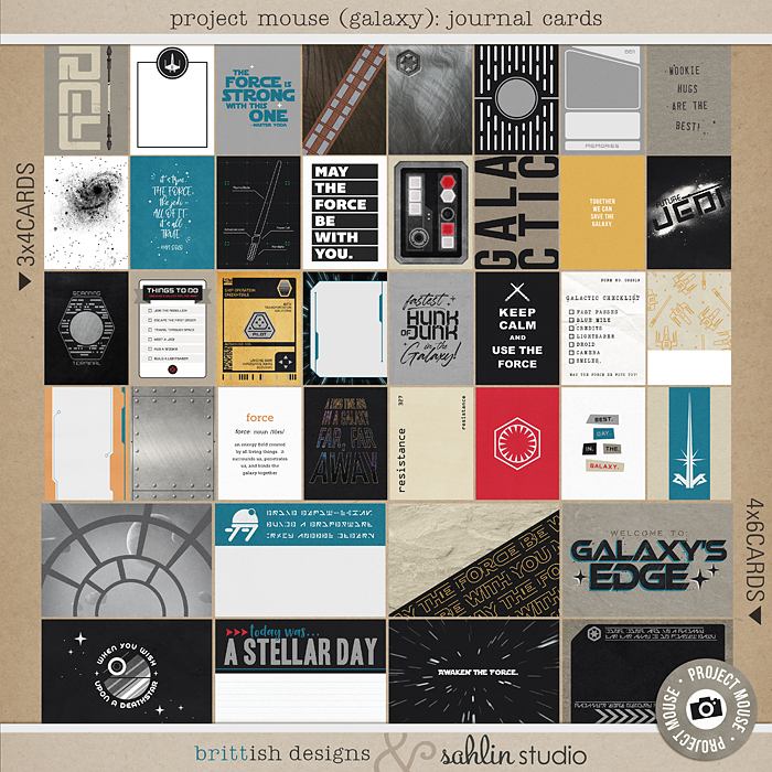 Project Mouse (Galaxy): Journal Cards by Britt-ish Designs and Sahlin Studio - Perfect for all of your Disney Tomorrowland and Star Wars layouts, in your scrapbookings or Project Life albums!!