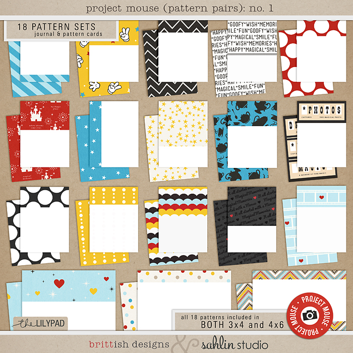 Project Mouse (Pattern Pairs) by Britt-ish Designs and Sahlin Studio - Perfect for documenting your Disney Project Mouse and Project Life albums!!