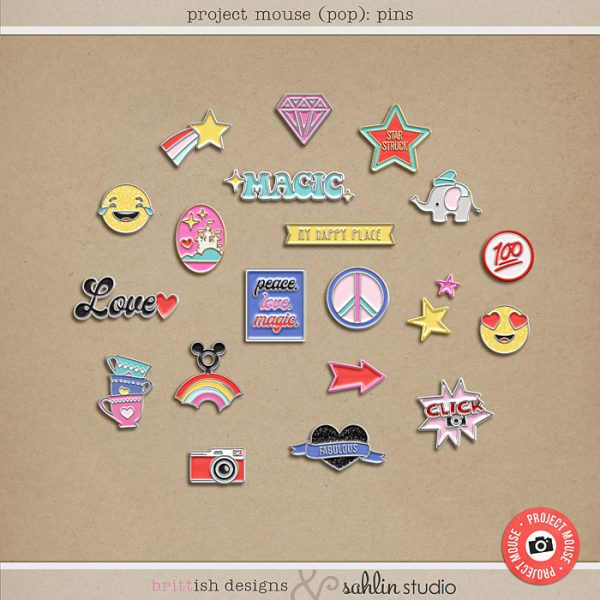Project Mouse (POP): Pins by Britt-ish Designs and Sahlin Studio - Perfect for documenting your Disney Project Mouse and Project Life albums!!