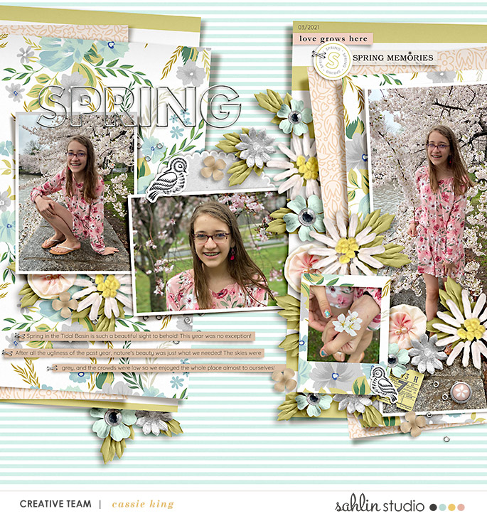 digital scrapbooking layout created by cassie king featuring Spring Stories by Sahlin Studio