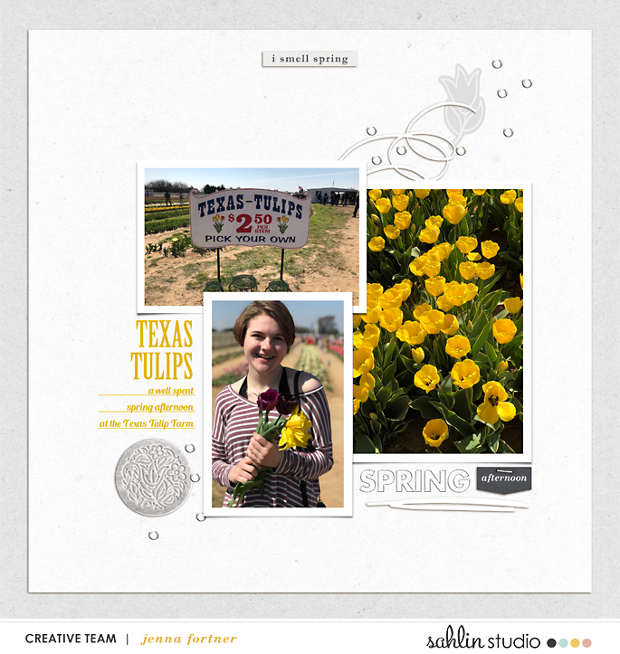 digital scrapbooking layout created by jenna featuring Spring Stories by Sahlin Studio