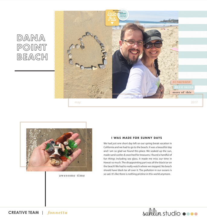 digital scrapbooking layout created by fonnetta featuring July 2021 FREE Template by Sahlin Studio