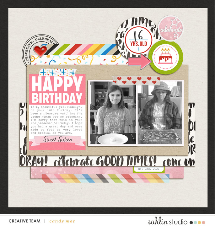 digital scrapbooking layout created by candy moe featuring June 2021 FREE Template by Sahlin Studio