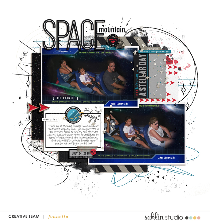 Disney Space Mountain digital scrapbook layout using Project Mouse (Galaxy) by Brittish Designs and Sahlin Studio