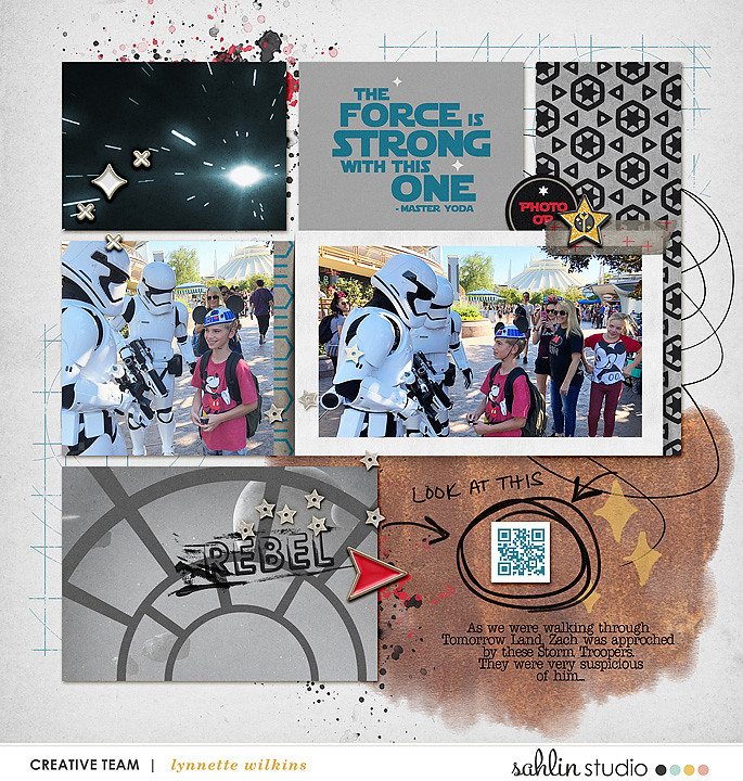 The Force is Strong with this One Disney Star Wars digital scrapbook layout using Project Mouse (Galaxy) by Brittish Designs and Sahlin Studio