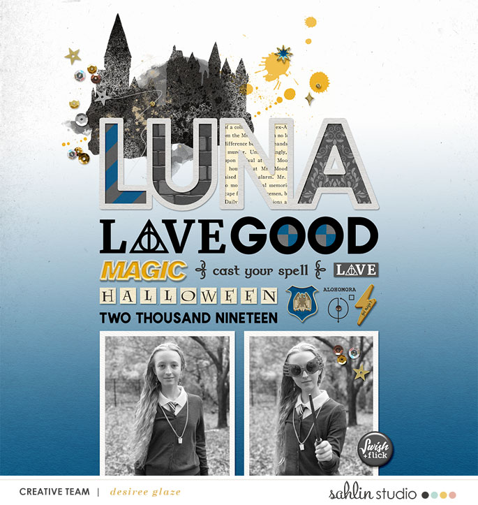 Luna Lovegood Harry Potter Digital scrapbook page using Project Mouse (Wizarding) by Britt-ish Designs and Sahlin Studio