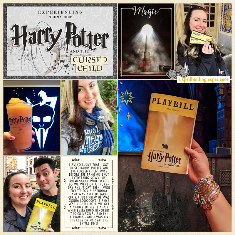 Harry Potter Cursed Child Play London Digital project life page using Project Mouse (Wizarding) by Britt-ish Designs and Sahlin Studio