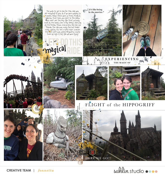 Harry Potter Wizarding World Flight of Hippogriff Digital project life page using Project Mouse (Wizarding) by Britt-ish Designs and Sahlin Studio