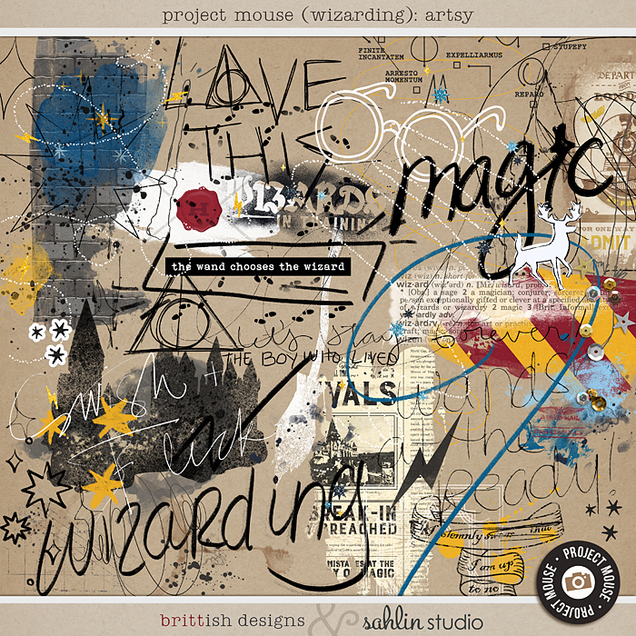 Project Mouse (Wizarding) Artsy by Brittish Designs and Sahlin Studio - Perfect for your Universal Studios or Harry Potter Wizarding World vacation digital scrapbooking layouts or Project Life albums!!