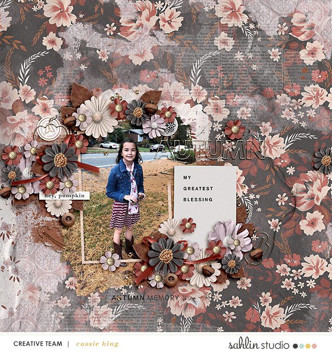 digital scrapbooking layout created by cassie king featuring Autumn Stories by Sahlin Studio