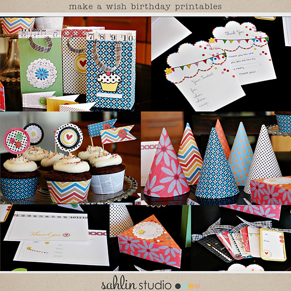 Make a Wish Birthday Party Printables by Sahlin Studio and Valorie Wibbens