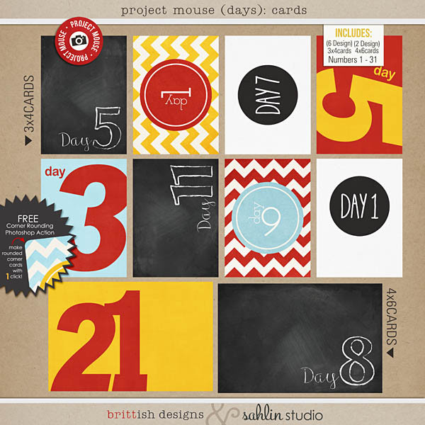 project mouse (days): journal date cards by britt-ish designs and sahlin studio