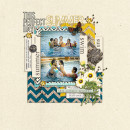 Summer Beach Swimming scrapbook page created by margelz featuring Sahlin Studio goodies