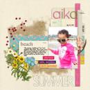 Summer Beach scrapbook page created by mikinenn featuring Sahlin Studio goodies