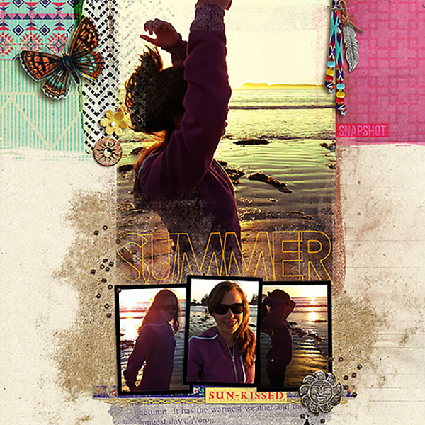 """Digital Scrapbook page created by heather prins featuring """"Aztec Summer"""" by Sahlin Studio"""