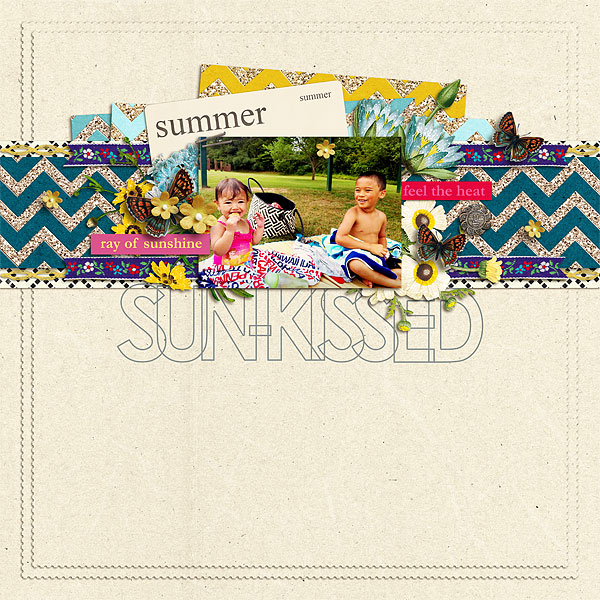 Summer scrapbook page created by scrappydonna featuring Sahlin Studio goodies